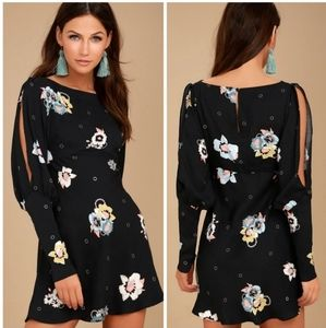 Free People Black Floral Open Sleeve Dress